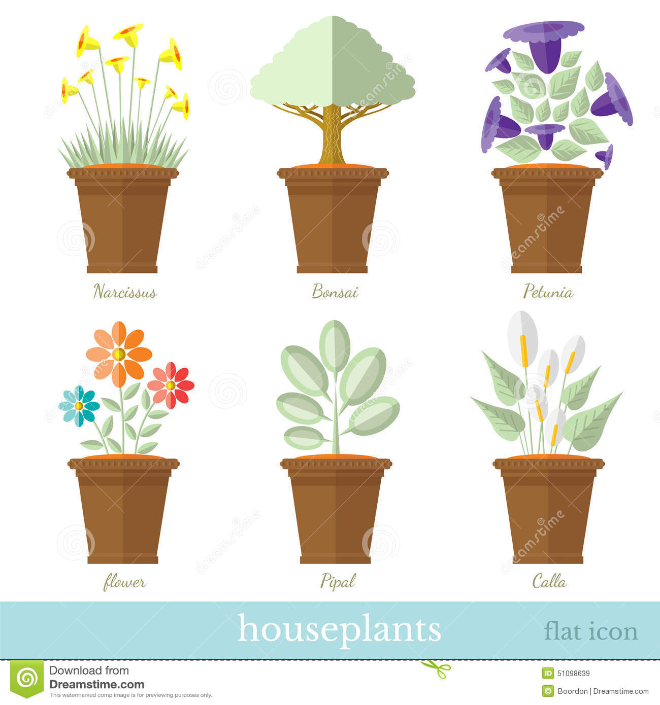 Flat design set of house plant and flower with flowerpot set
