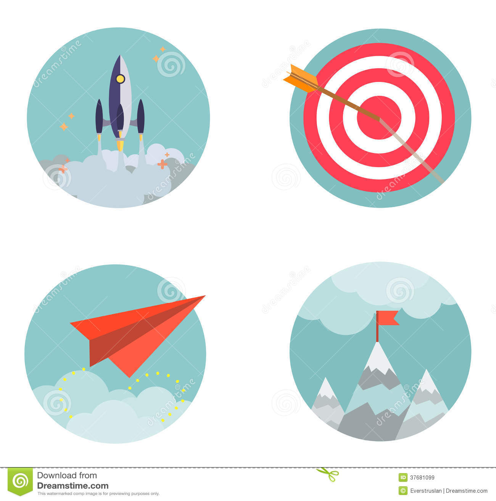 Business Development Icon : Flat design set icons start up business developmen royalty