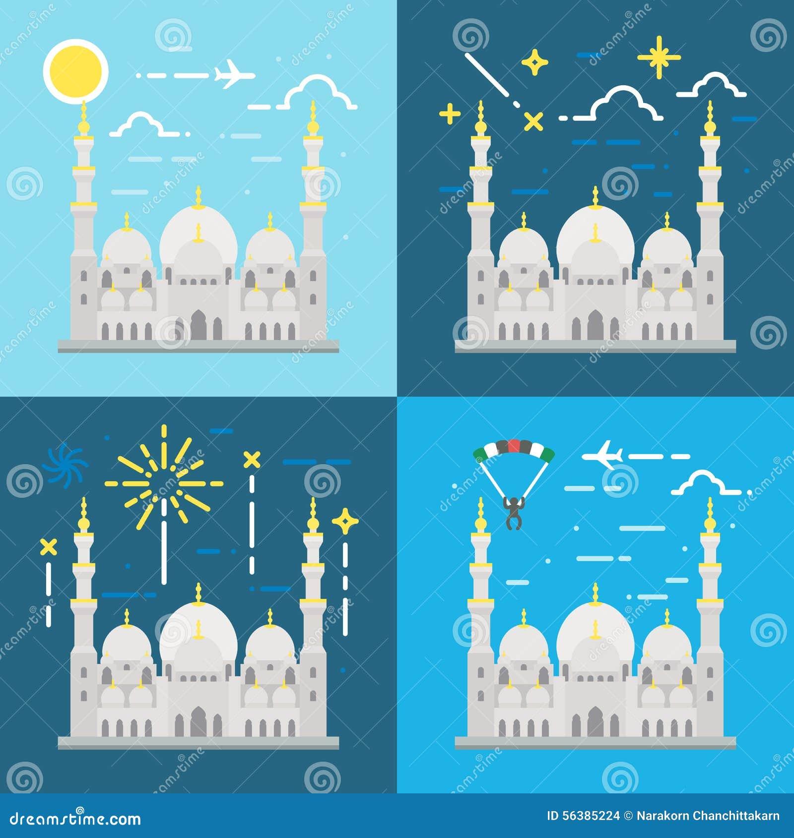 Flat Design Of Sheikh Zayed Grand Mosque Abu Dhabi Stock