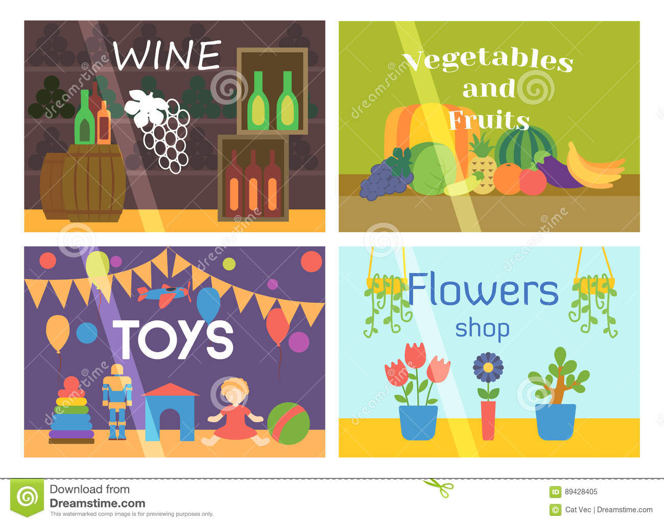 Flat Design Showcase Restaurant Shop Facade Icon Store Modern Awning Architecture Window Exterior And Market Front Urban Stock Vector Illustration Of Alcohol Fruits 89428405