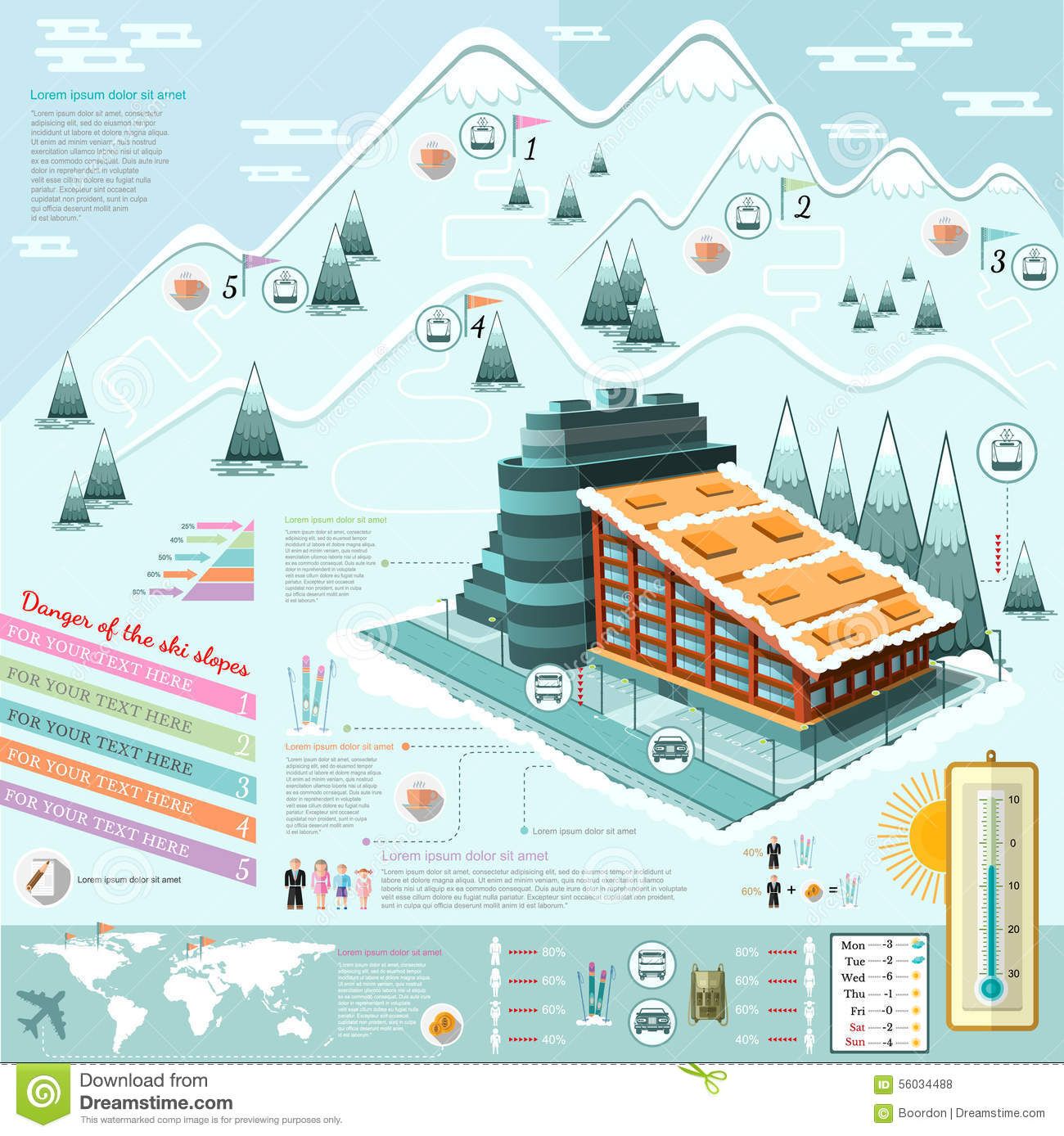 Flat design ski resort infographics with hotel stock for Ski design hotel
