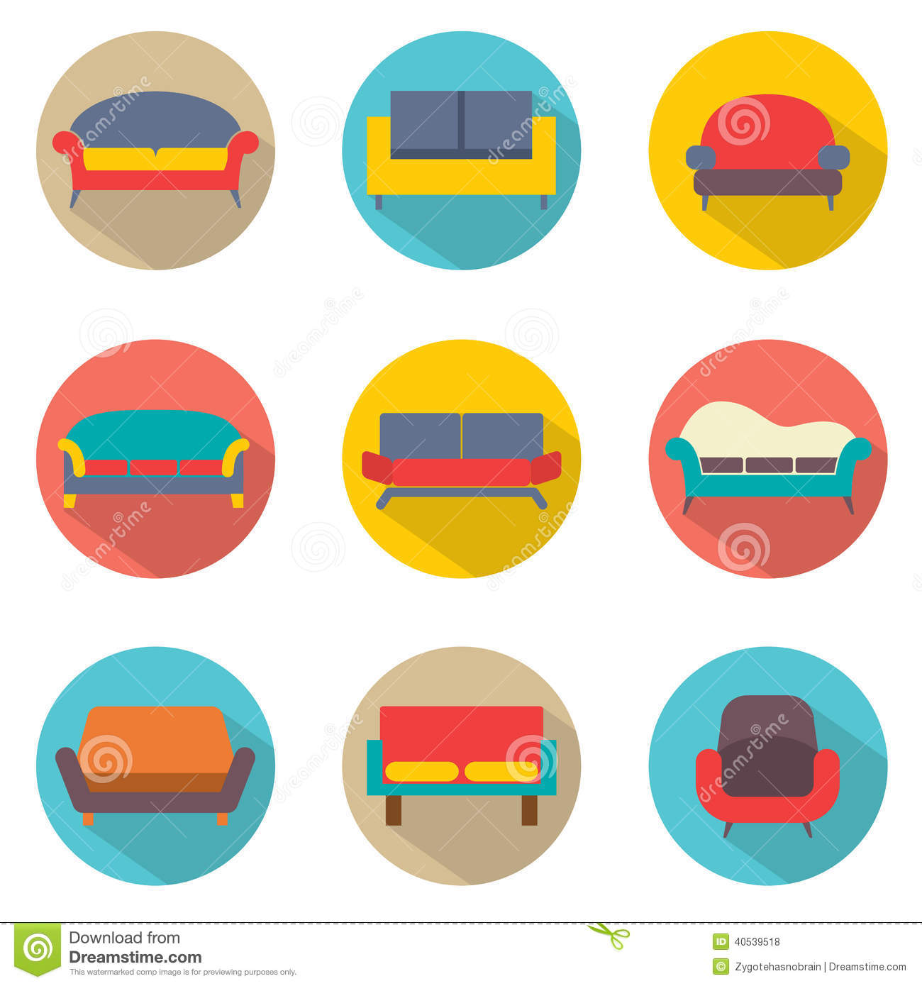 Flat Design Sofa Icons Stock Vector. Illustration Of Style
