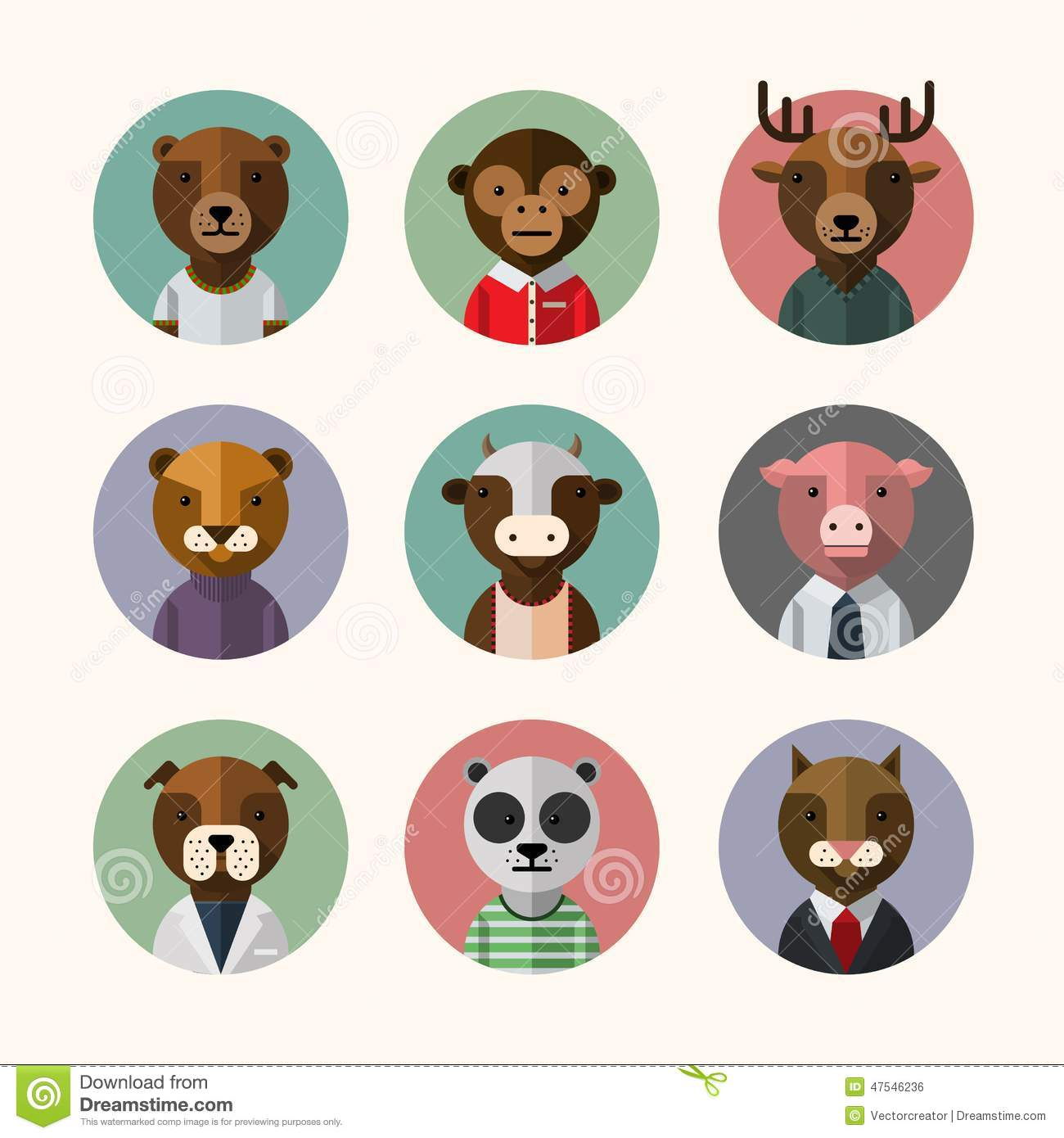Avatar 2 Animals: Flat Design Style Animal Avatar Icon Set Stock Vector