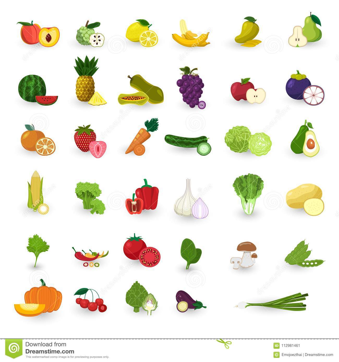 Flat design style fruits and vegetable vector set.