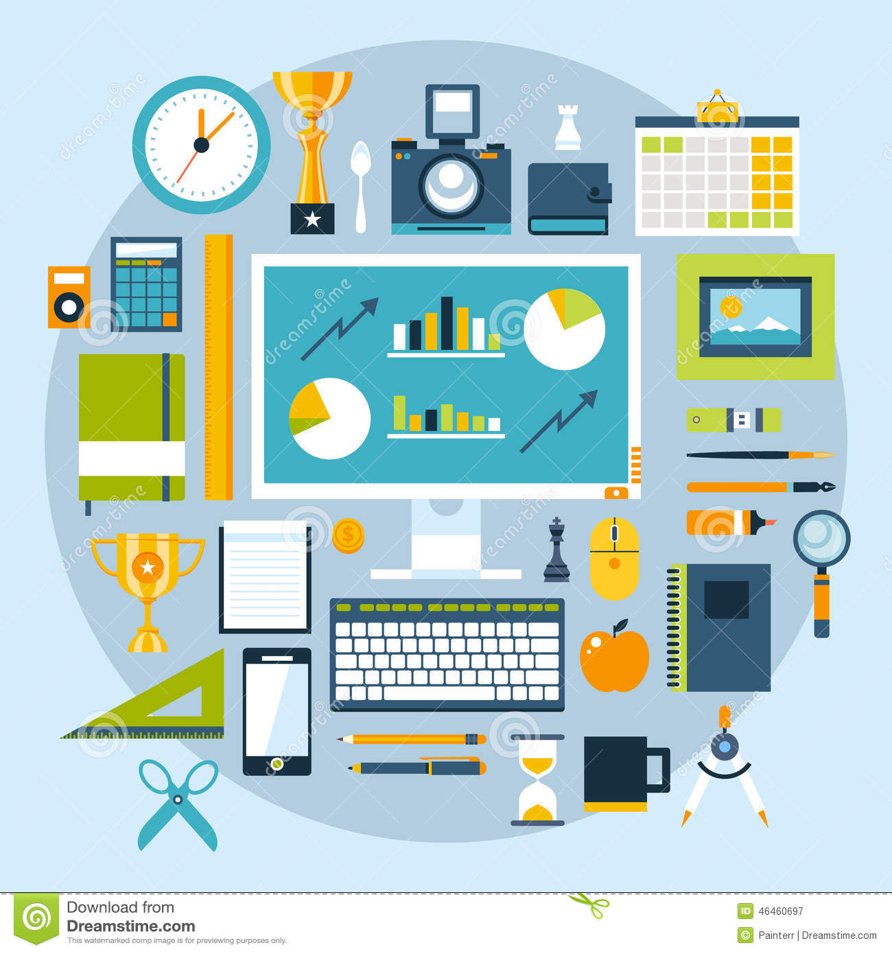 Set of the office tools stock image for Office design tool