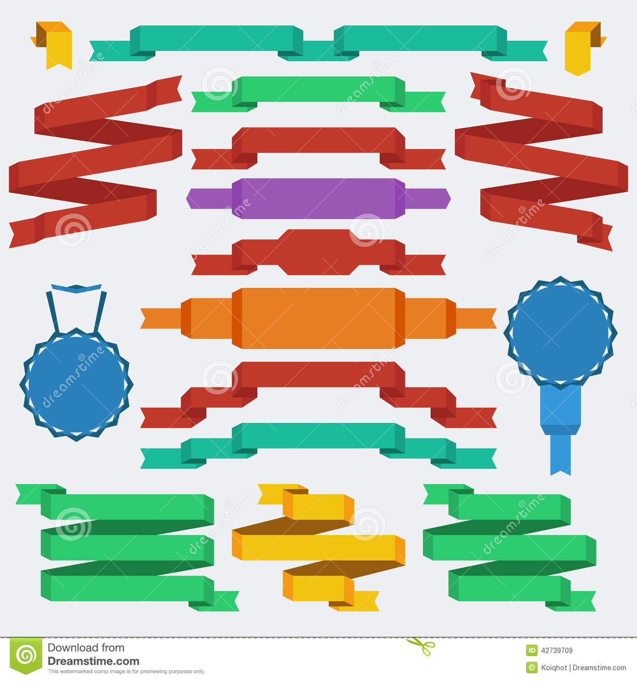 Flat Design Style Ribbon And Banners Stock Image Image Of
