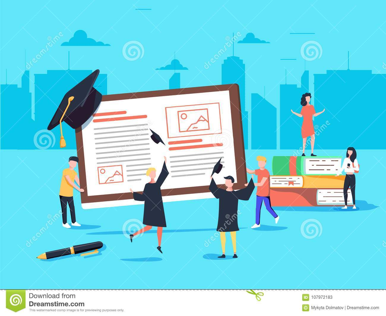 Flat Design Style Web Banner For Online Learning, Education