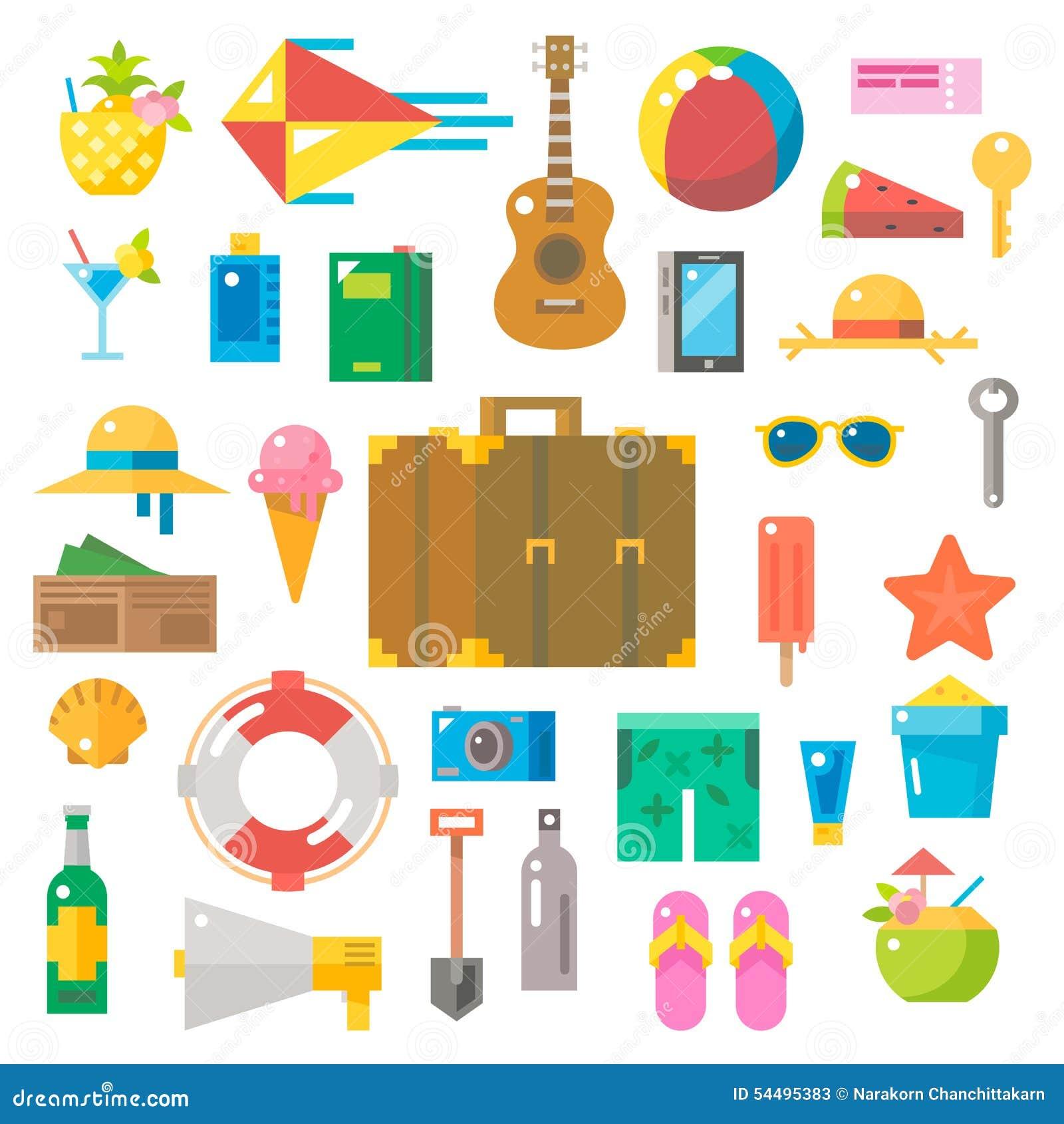 Flat Design Of Summer Beach Items Set Stock Vector