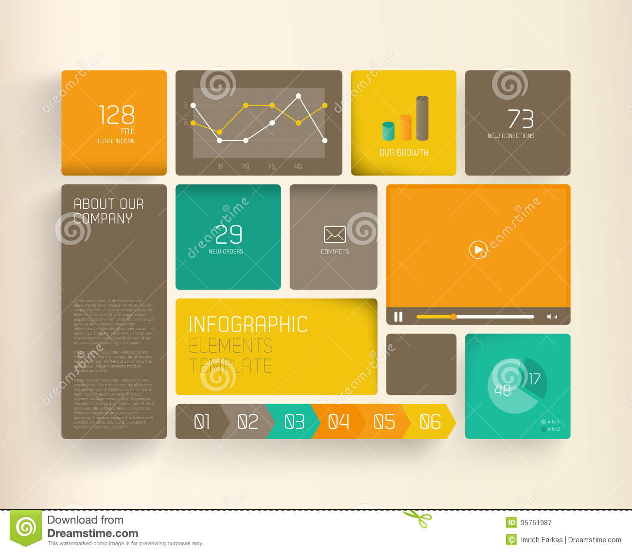 Flat Design Template Royalty Free Stock Photography - Image: 35761987