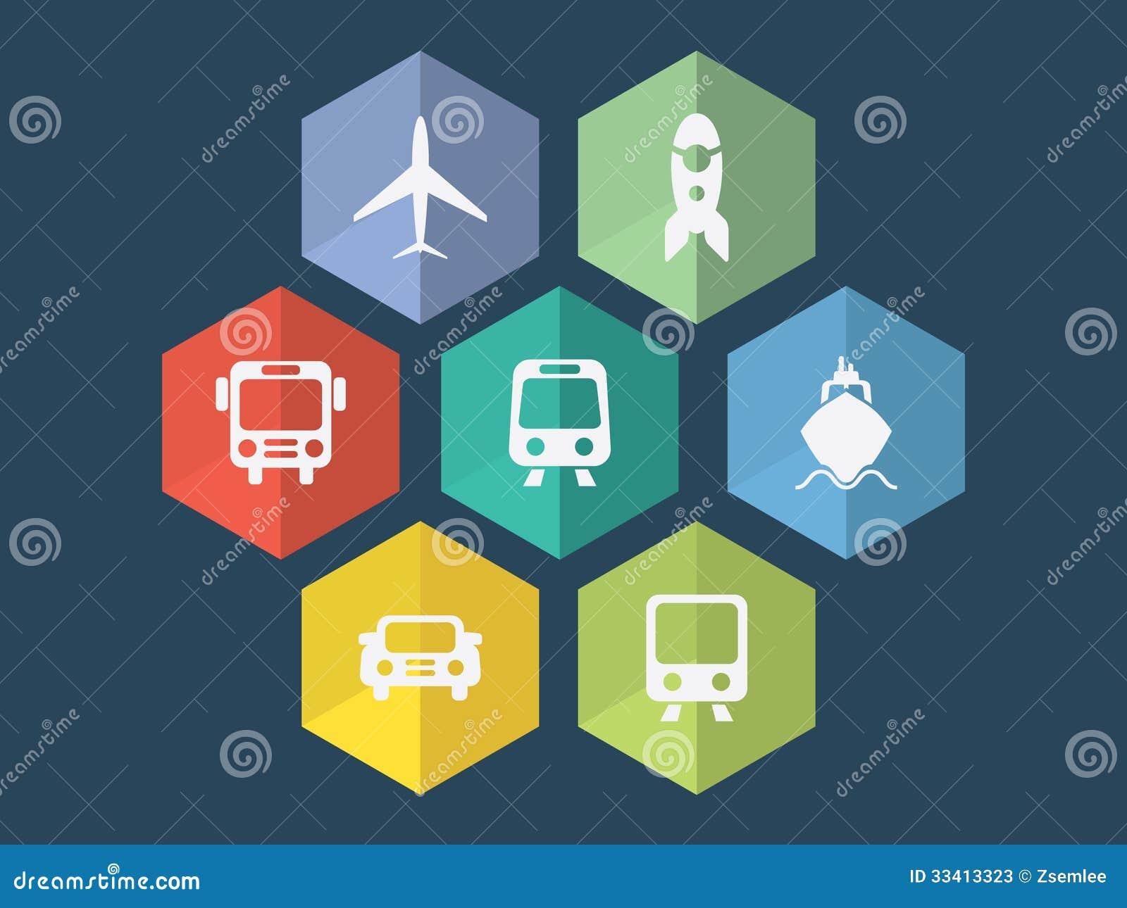 Скачать Eco Technology Flat Icons: Flat Design Transport Icons Stock Photos