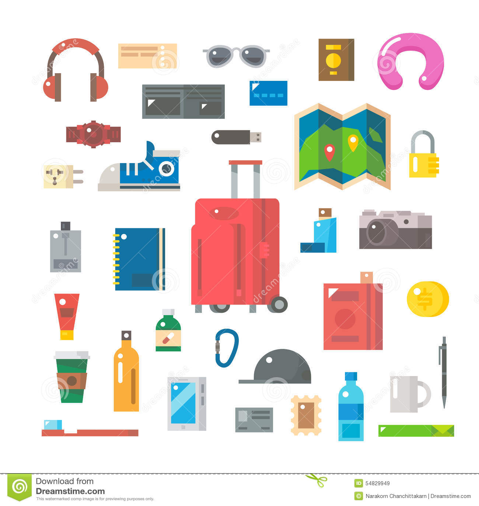 Flat Design Of Travel Items Set Stock Vector