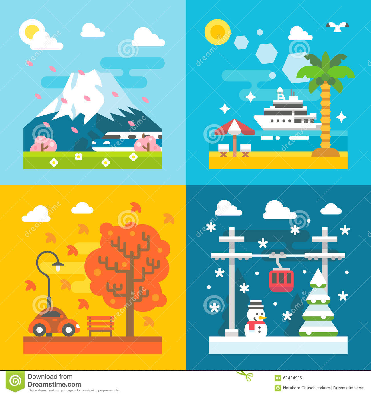 Flat design travel seasons set stock vector image 63424935 - Autumn plowing time all set for winter ...