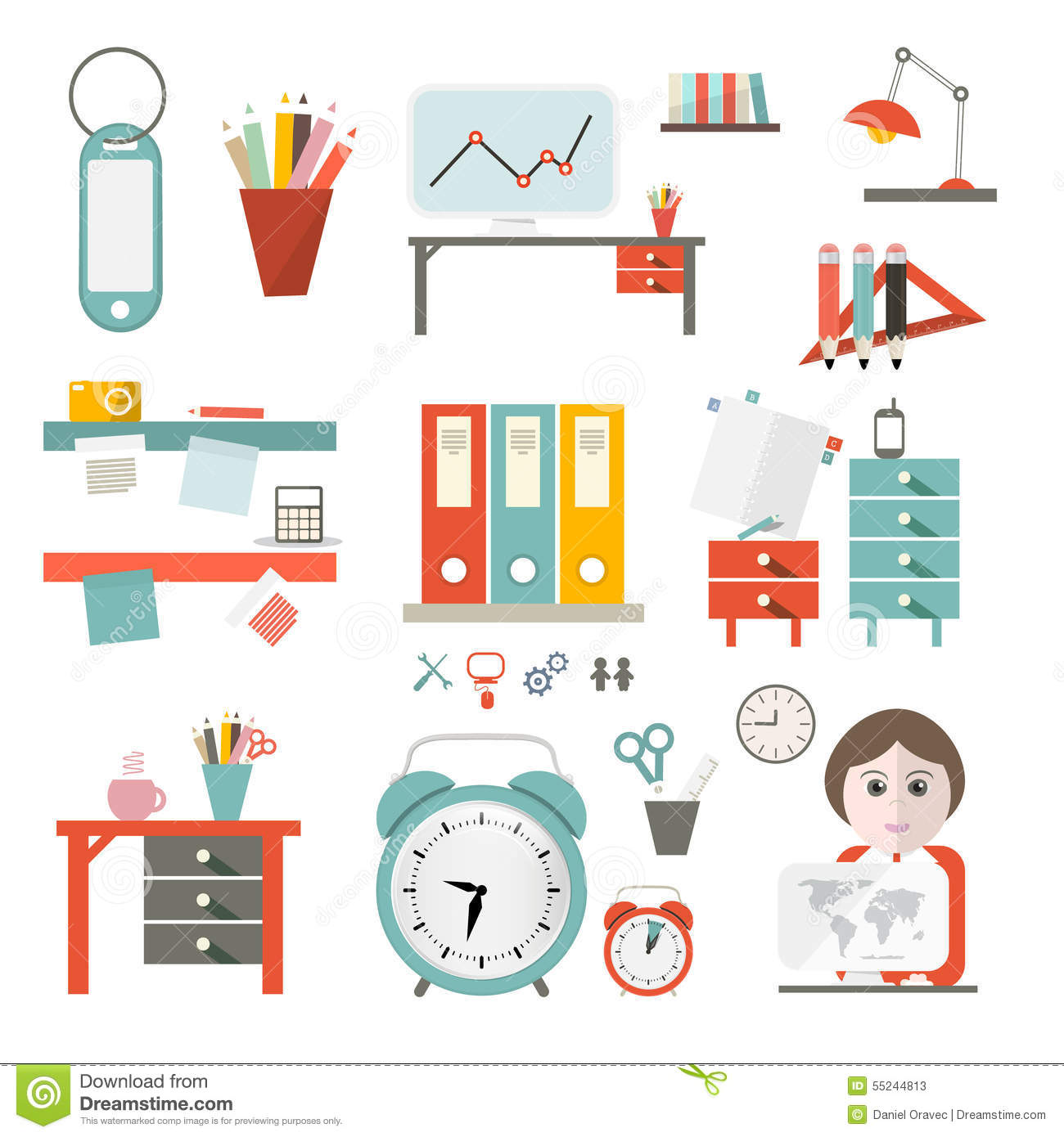 Flat design ui office supply vector flat design for Office design vector