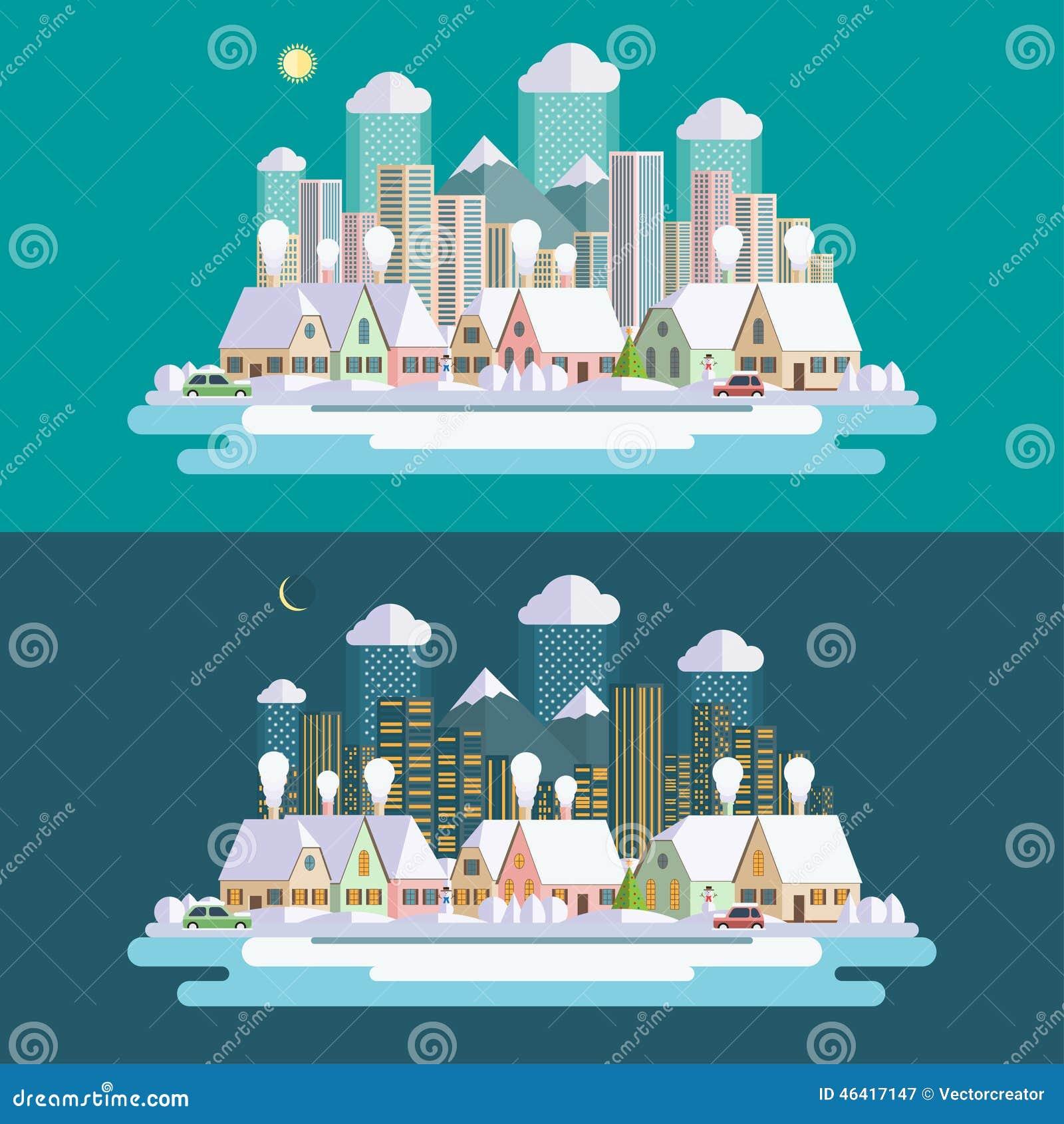 Landscape Design In A Day: Flat Design Urban Winter Landscape Illustration Stock
