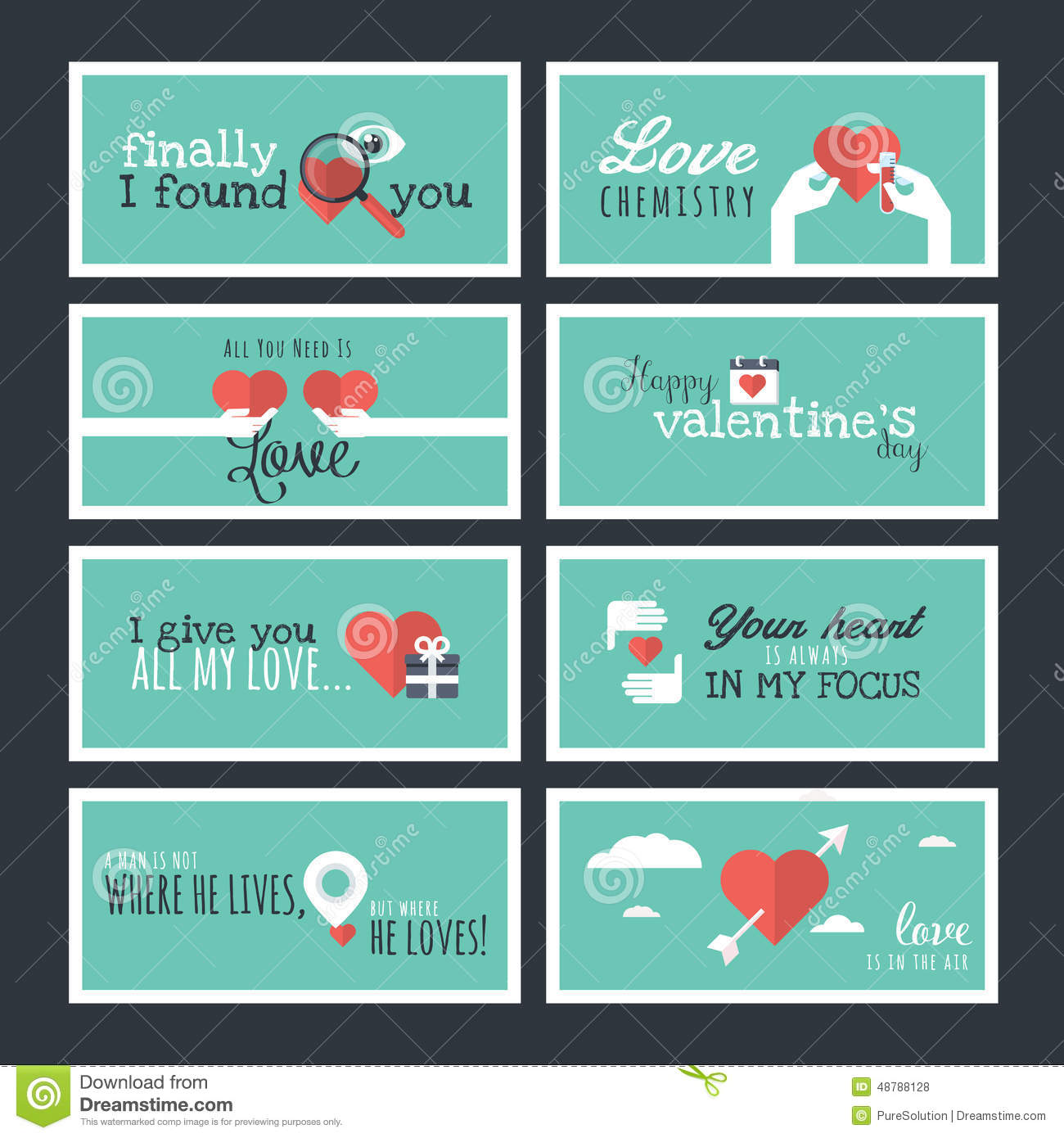 Flat design valentines day greeting cards and banners stock vector flat design valentines day greeting cards and banners m4hsunfo Image collections
