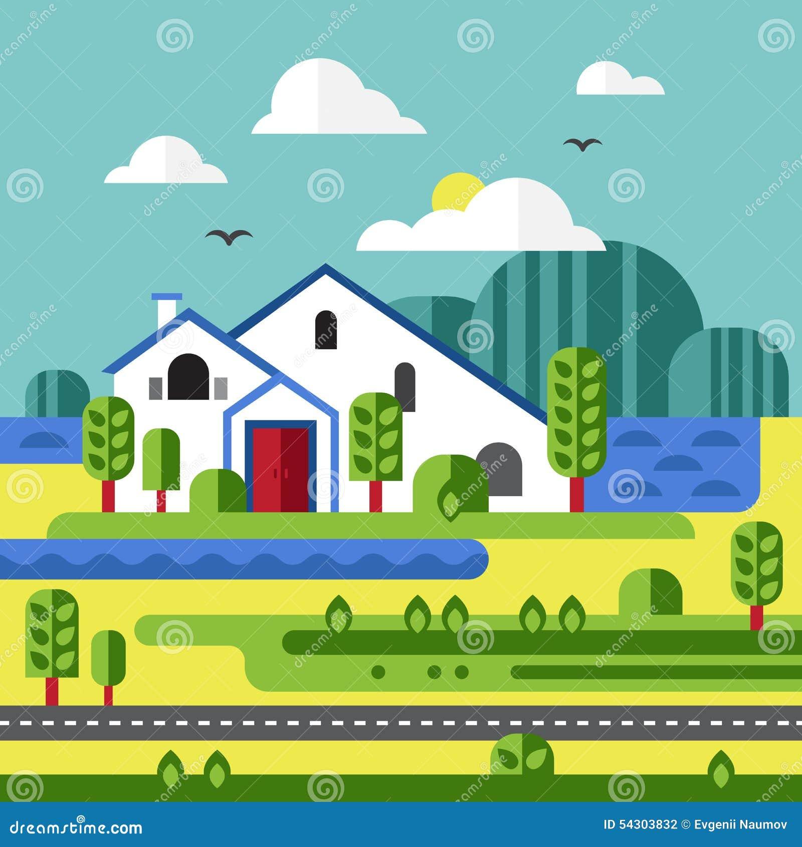 Landscape Illustration Vector Free: Flat Design Vector Of Farm Landscape Stock Vector