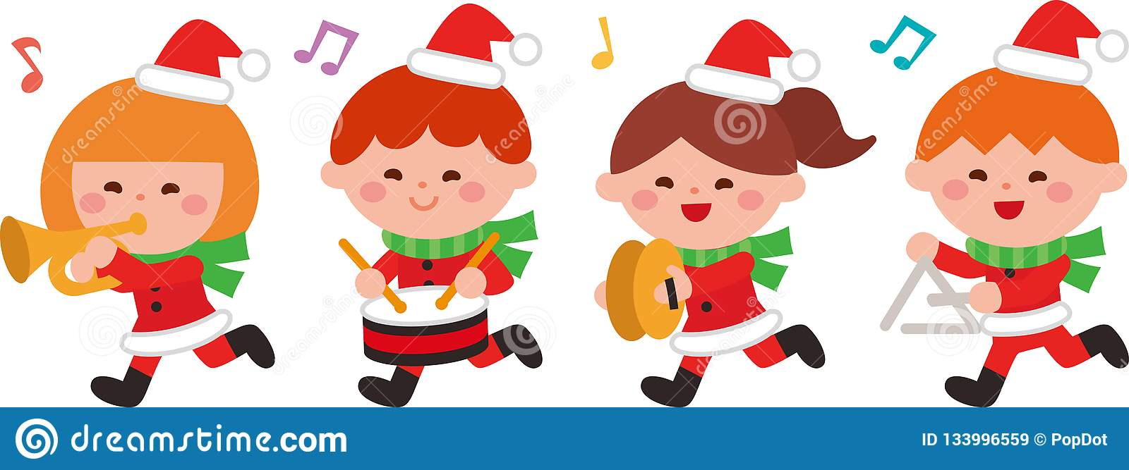 Play Christmas Music.Children Play Christmas Music Flat Design Vector