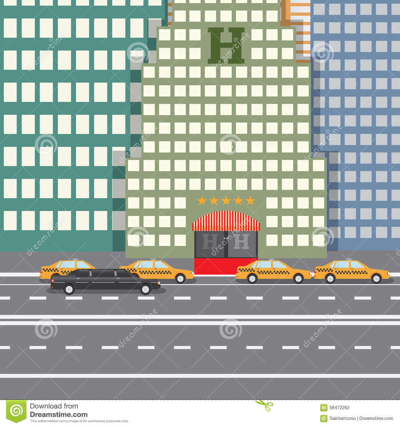 Flat design vector illustration concept for city hotel and for City hotel design