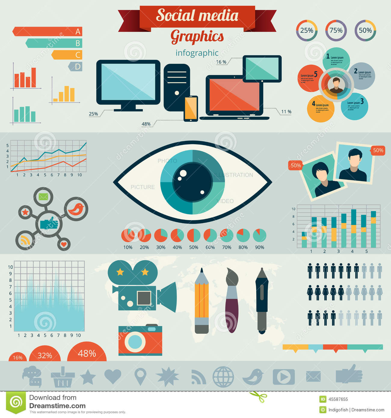 Flat Design Vector Illustration Concept For Social Media Stock