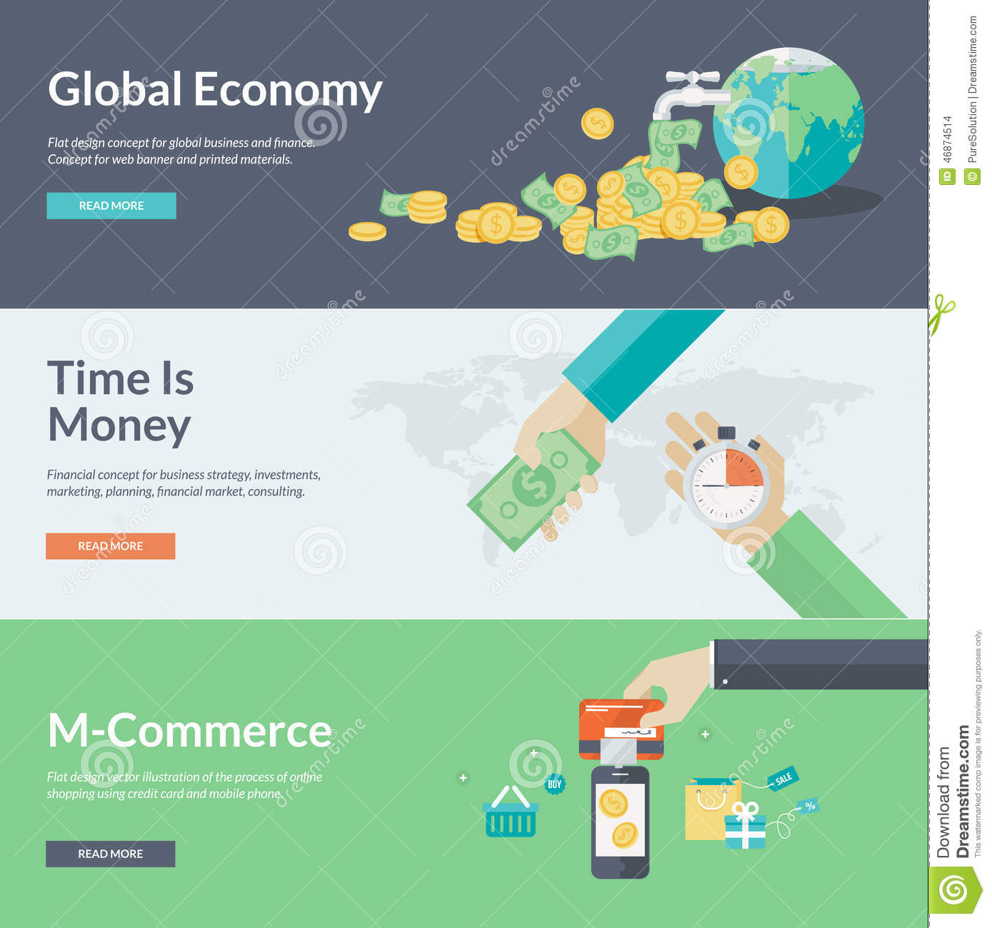 Business Finance: Flat Design Vector Illustration Concepts For Business And