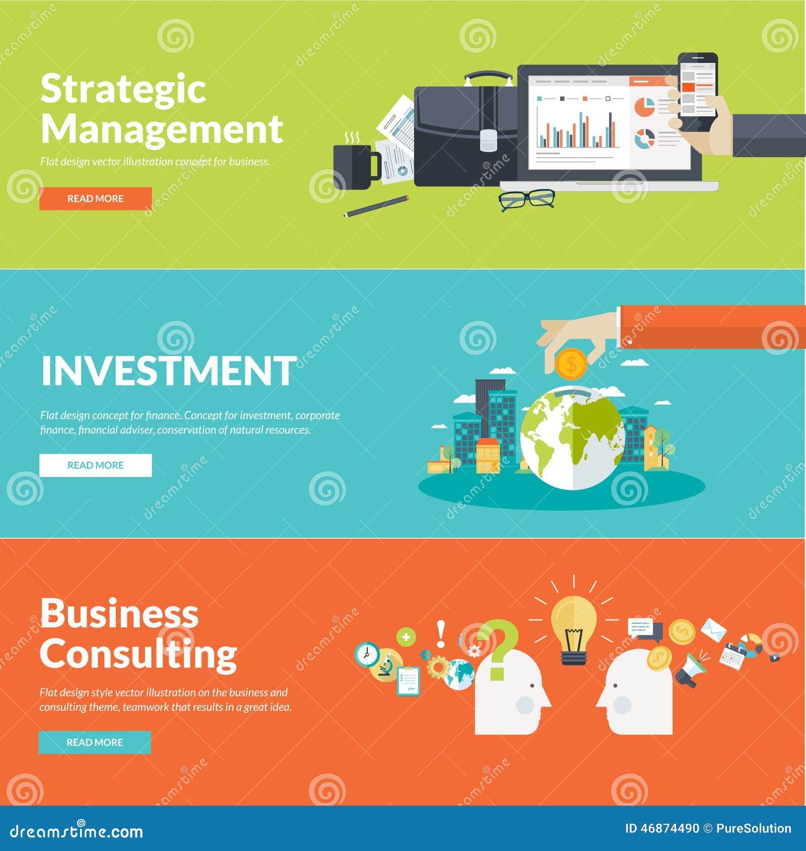 Flat design vector illustration concepts for business for Strategic design company