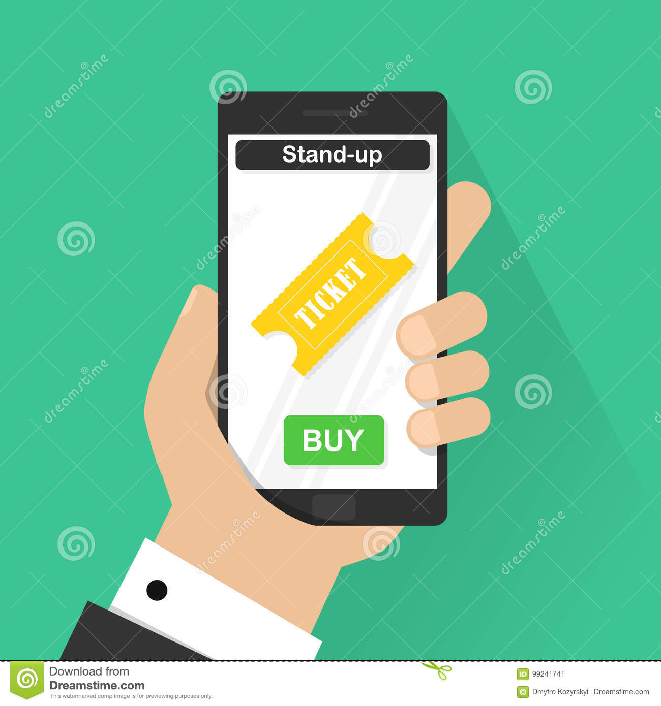flat design vector illustration concepts of online stand up ticket