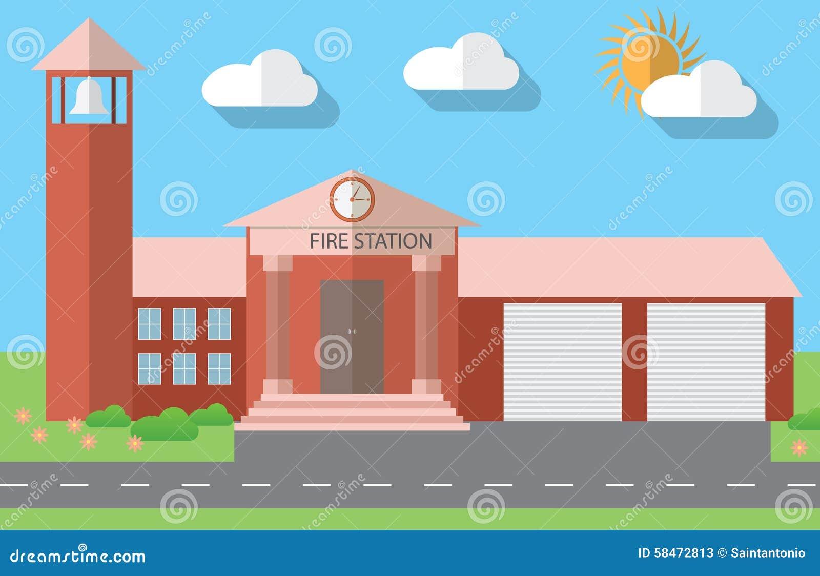 Flat Design Vector Illustration Of Fire Station Building