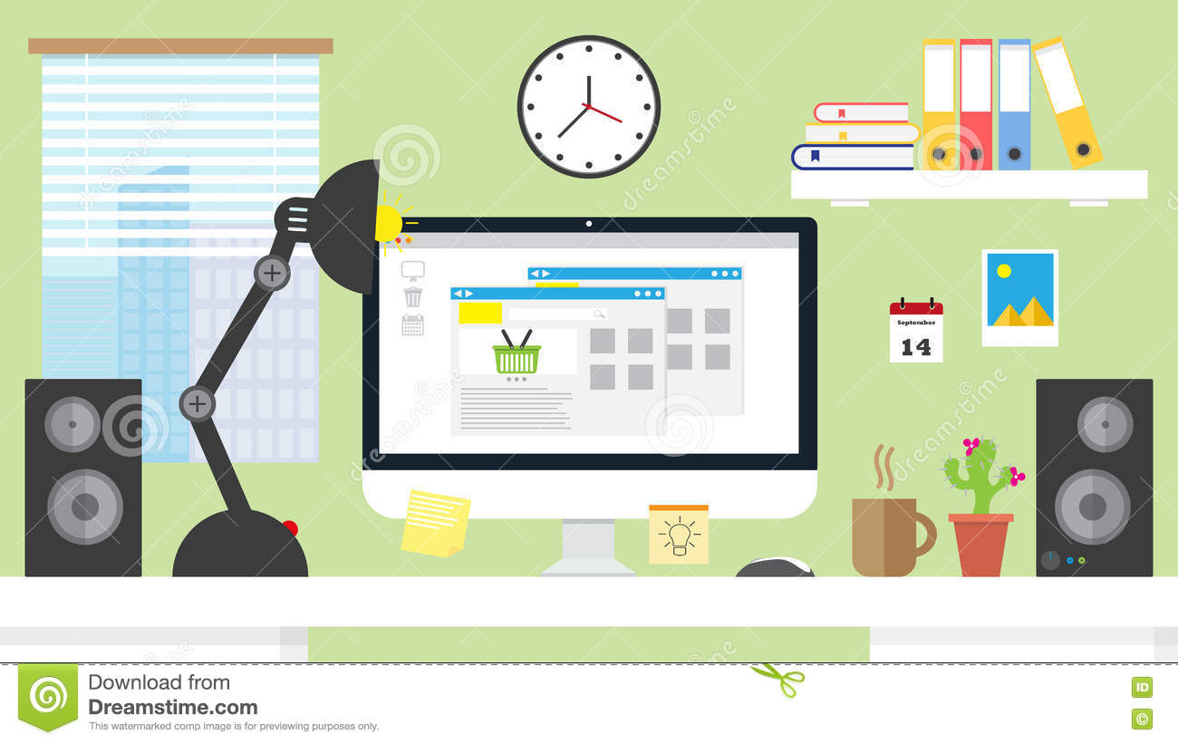Flat design vector illustration home office workspace for Design your office online