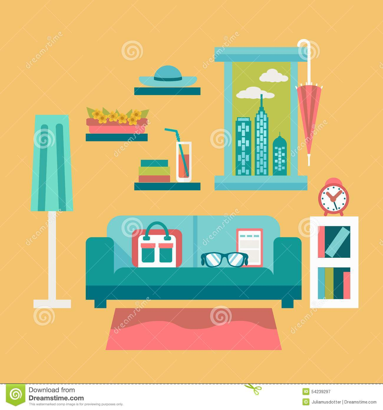 Flat Design Vector Illustration Of Modern Home Office Interior ...