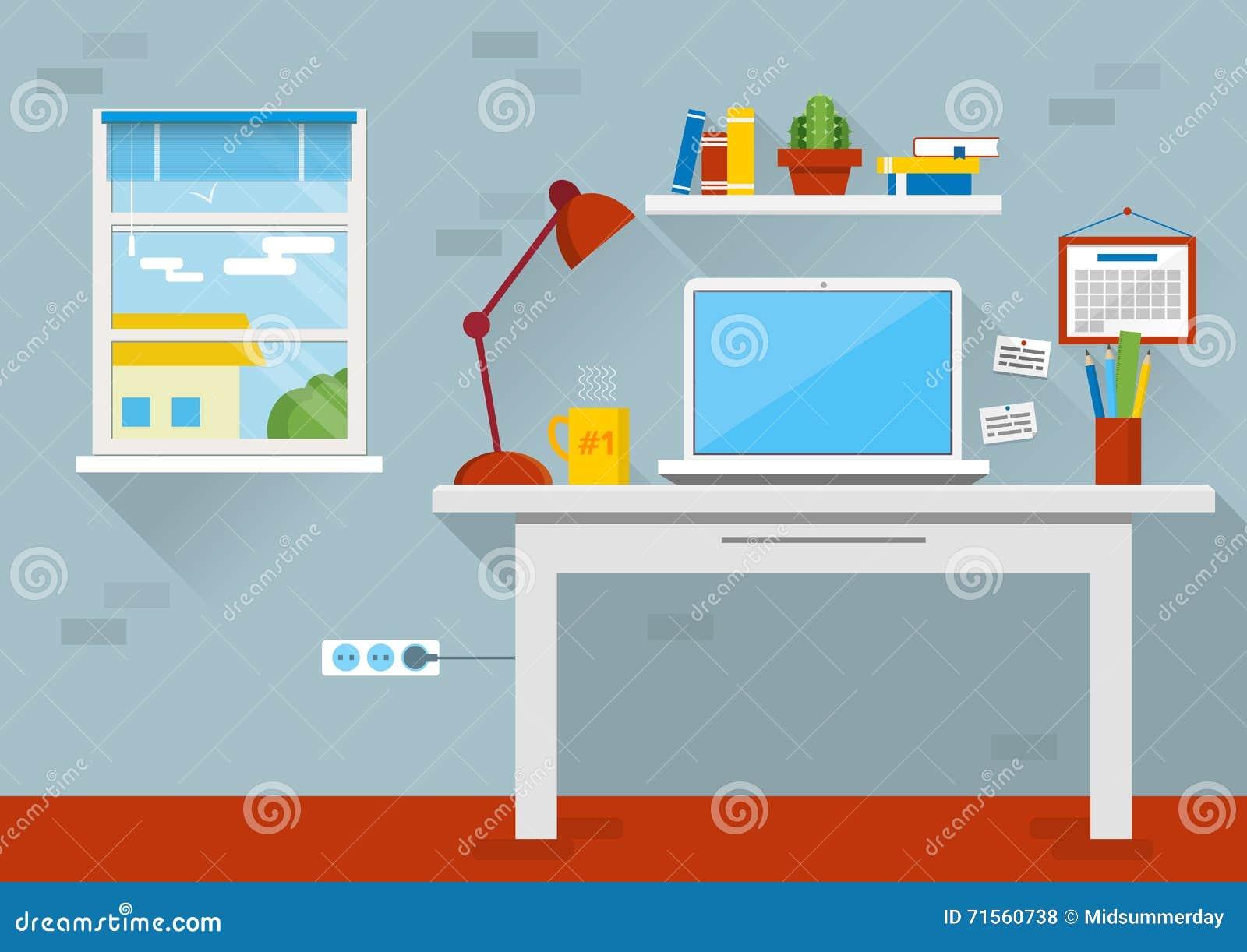 Calendar Flat Illustration : Flat design vector illustration of modern office interior