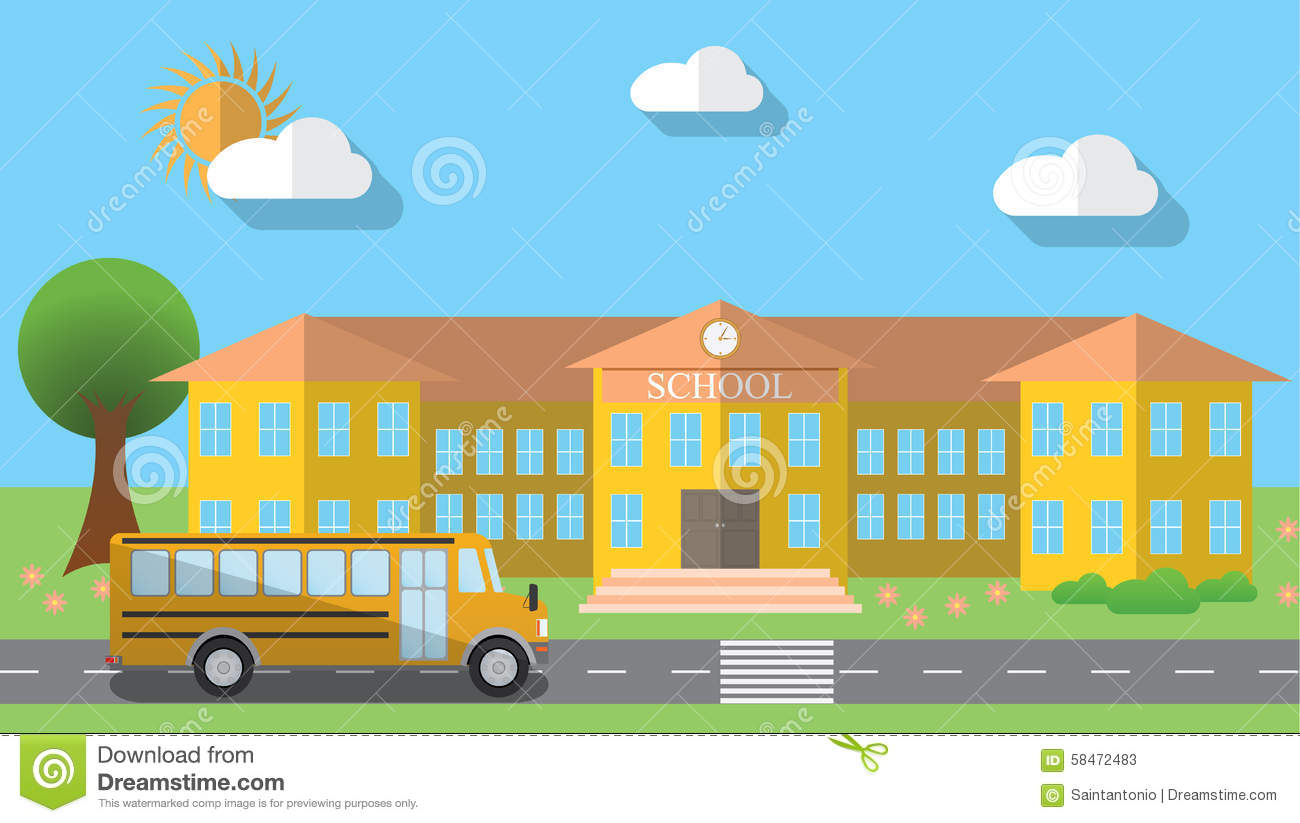 Flat design vector illustration of school building and for Flat design pictures