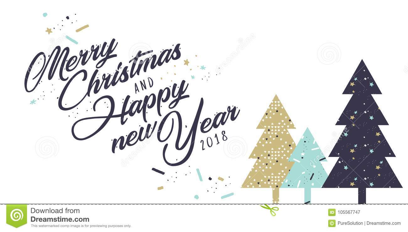 Christmas And New Year Greeting Card Stock Vector - Illustration of ...