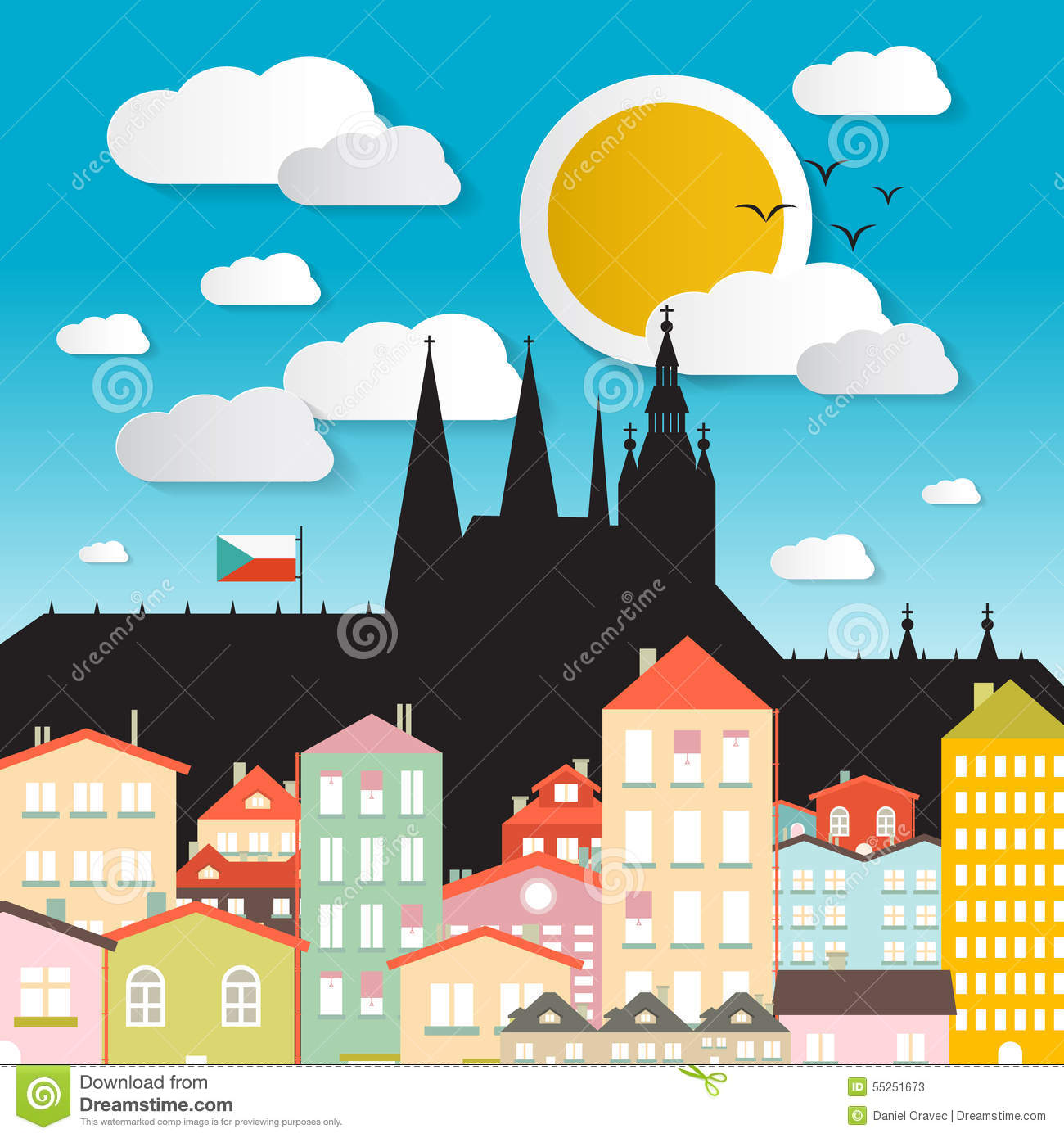 Flat design vector prague castle illustration stock vector for Prague design