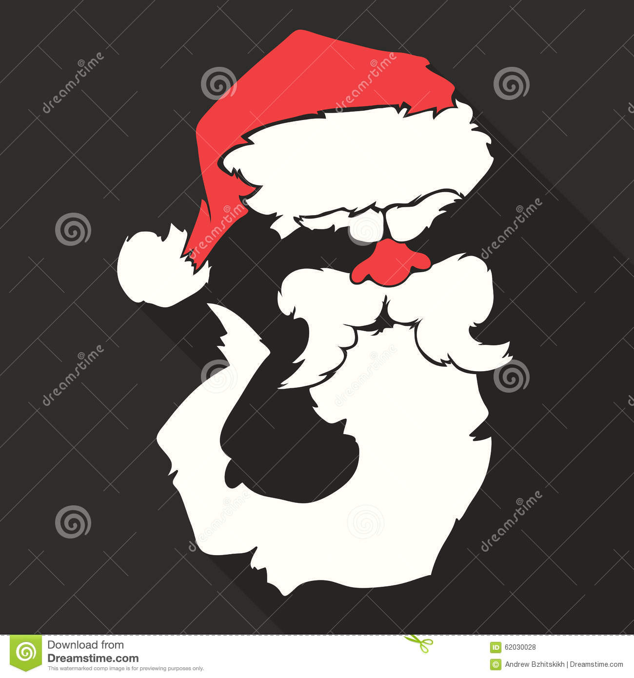 3ad563068ec Flat Design Vector Santa Claus Face. Hat and beard. Christmas icons with  long shadow. Retro. Great for avatar and greeting cards