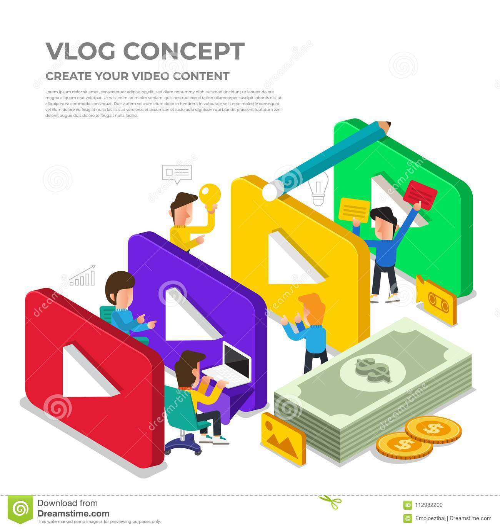 Flat design vlog concept. Create video content and make money. V