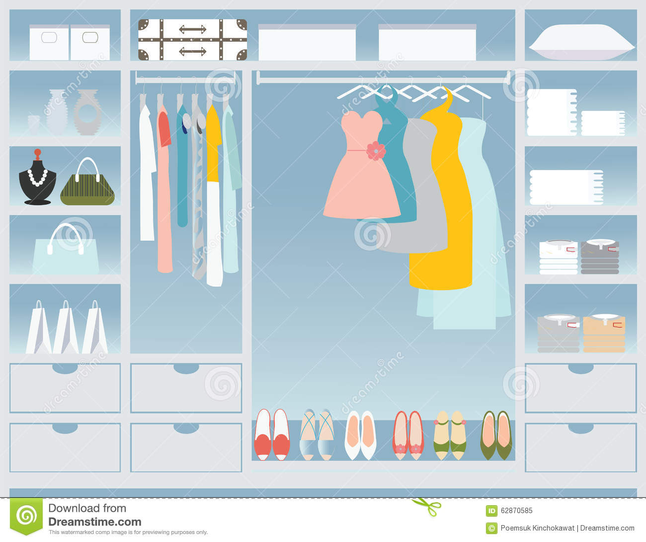 Flat Design Walk In Closet Stock Vector Image 62870585