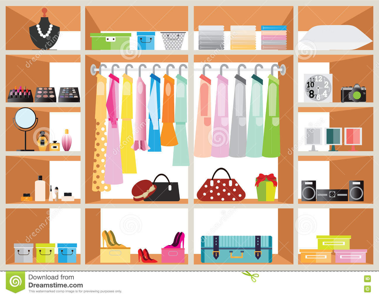 Flat Design Walk In Closet With Shelves Cartoon Vector