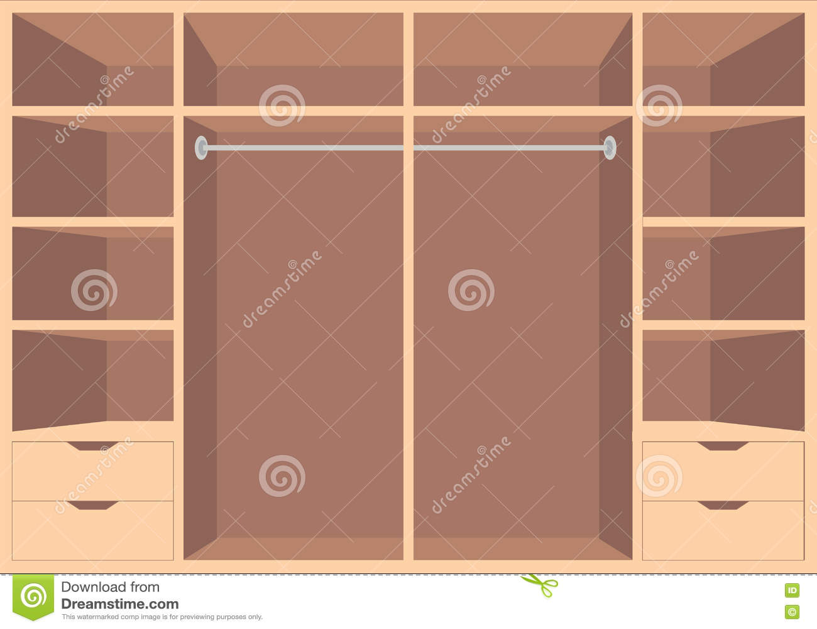 Interior wooden shelves free vector - Royalty Free Vector
