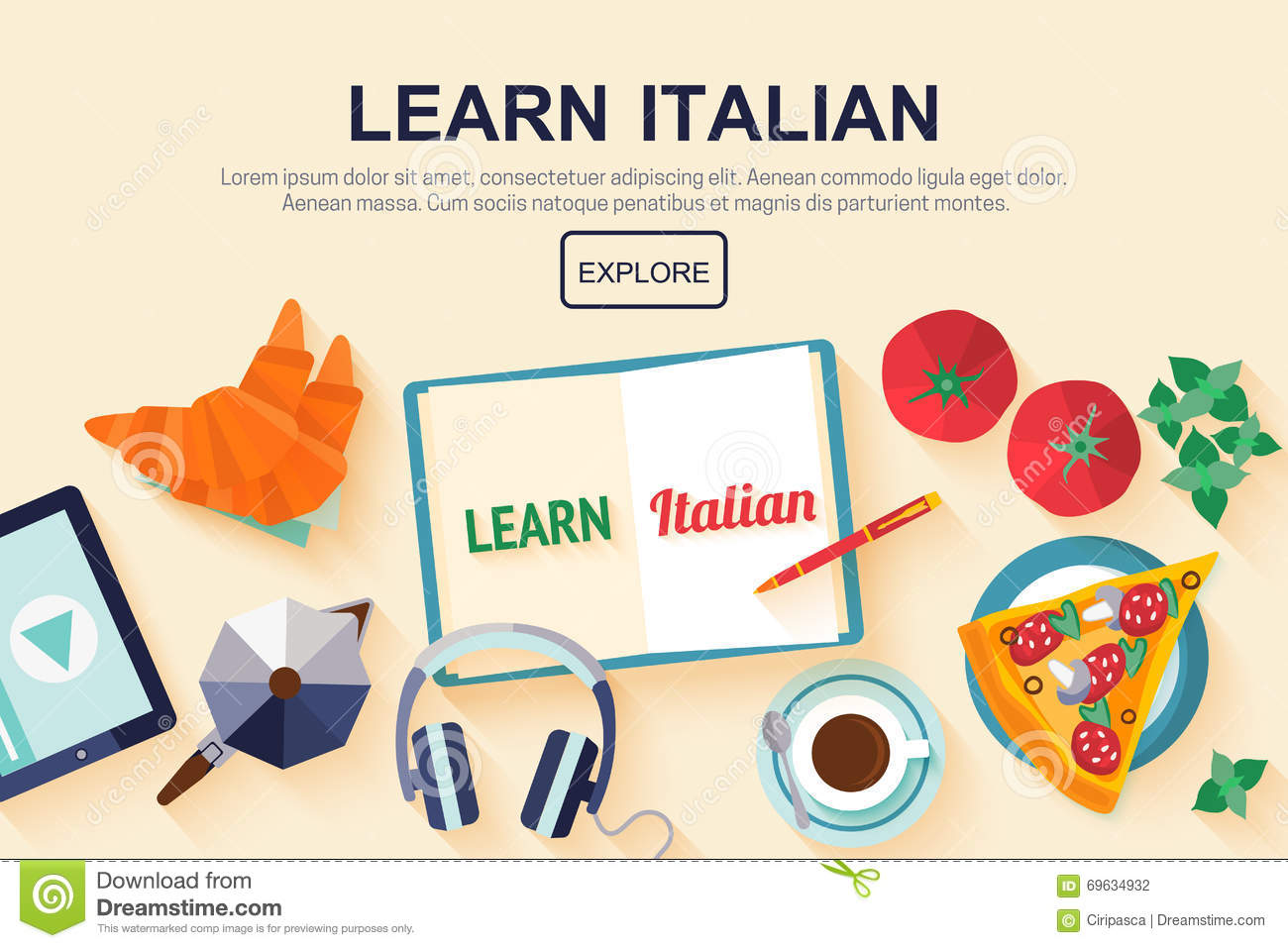 Flat design web banner for italian language school stock vector download comp ccuart Images