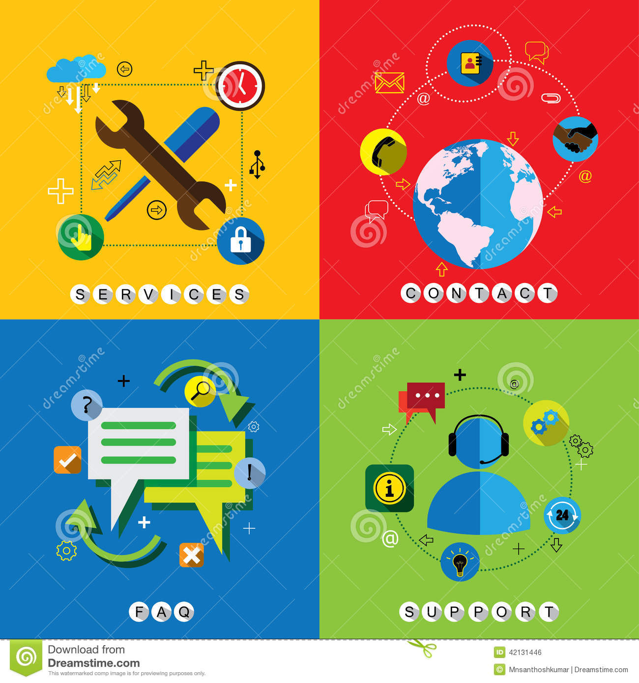 Flat design web icons vector set for contact, service, faq & sup