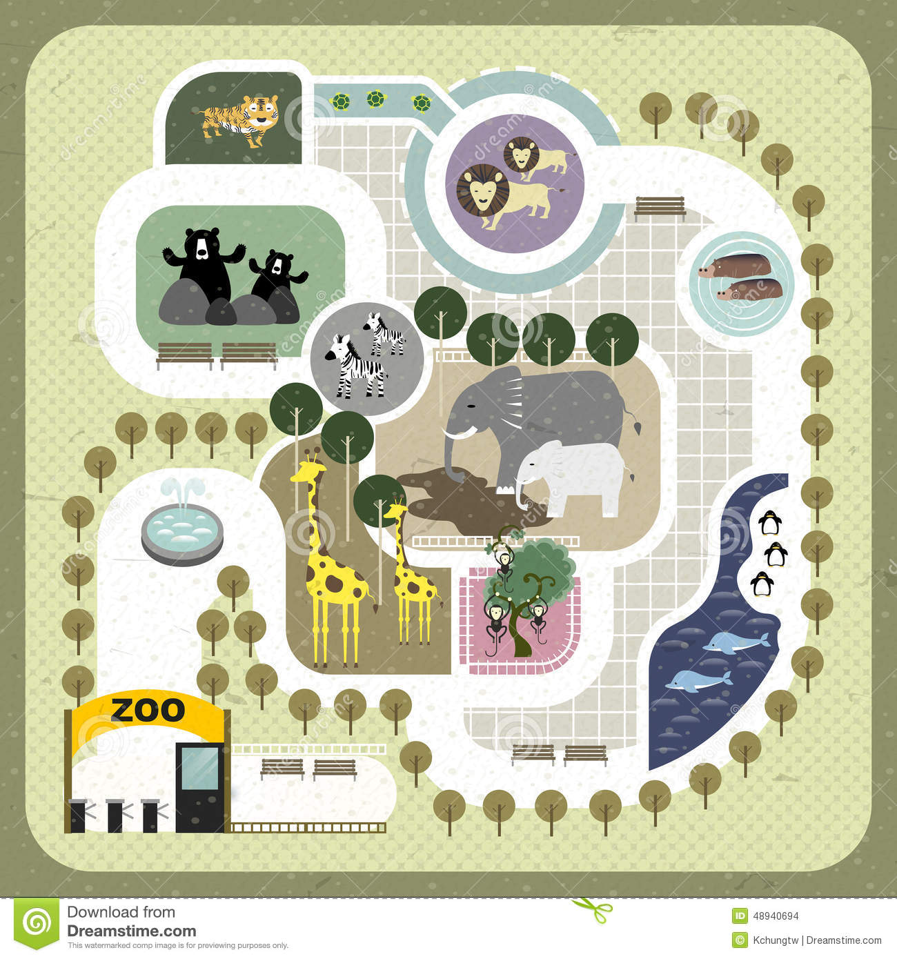 Flat Design Zoo Map Stock Vector Image 48940694