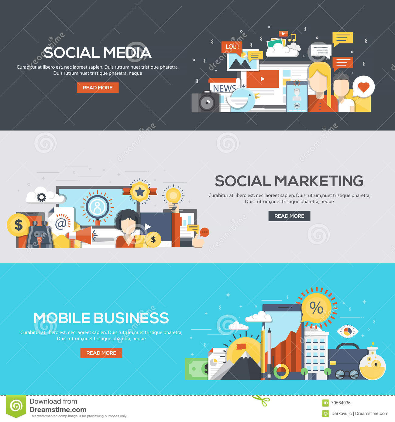 flat designed banners social media social marketing and mobile