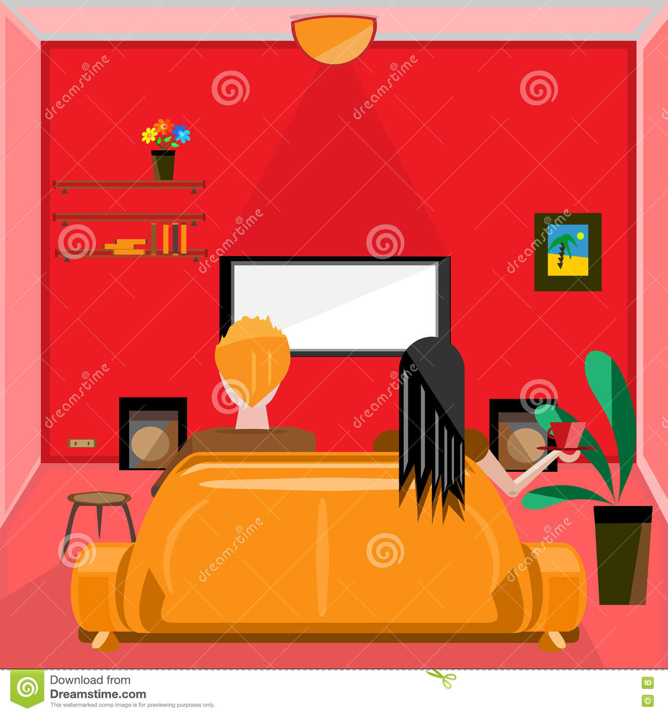 Vector Of Living Room Stock Vector Image Of Sofa: Flat Designed Living Room With People Stock Vector