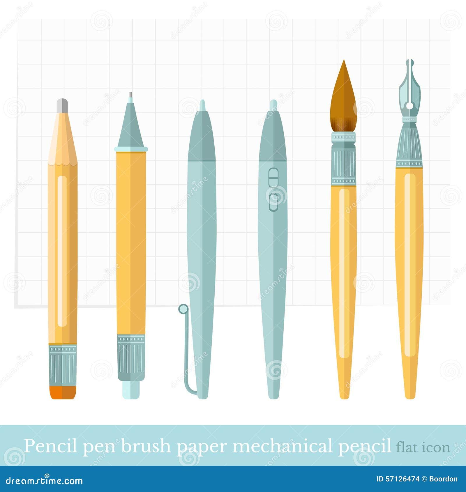 Flat Designer Set Pen, Brush, Pencil, Mechanical Pencil ...