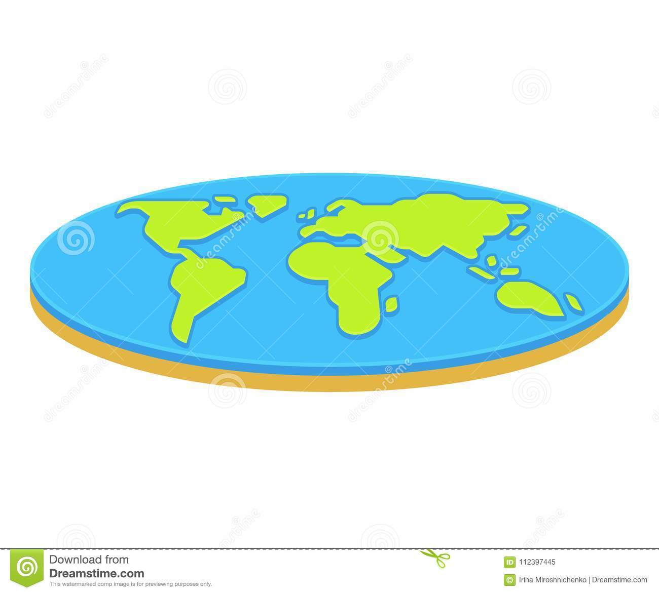 Flat Earth Concept Illustration Stock Vector Illustration Of