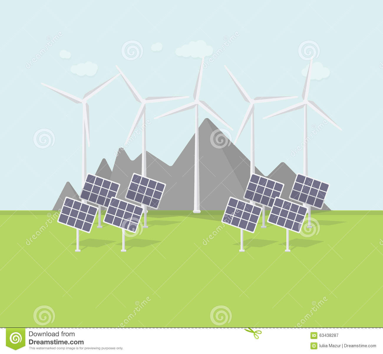 Stock Vector: Flat eco design, rural landscape with windmill, solar ...