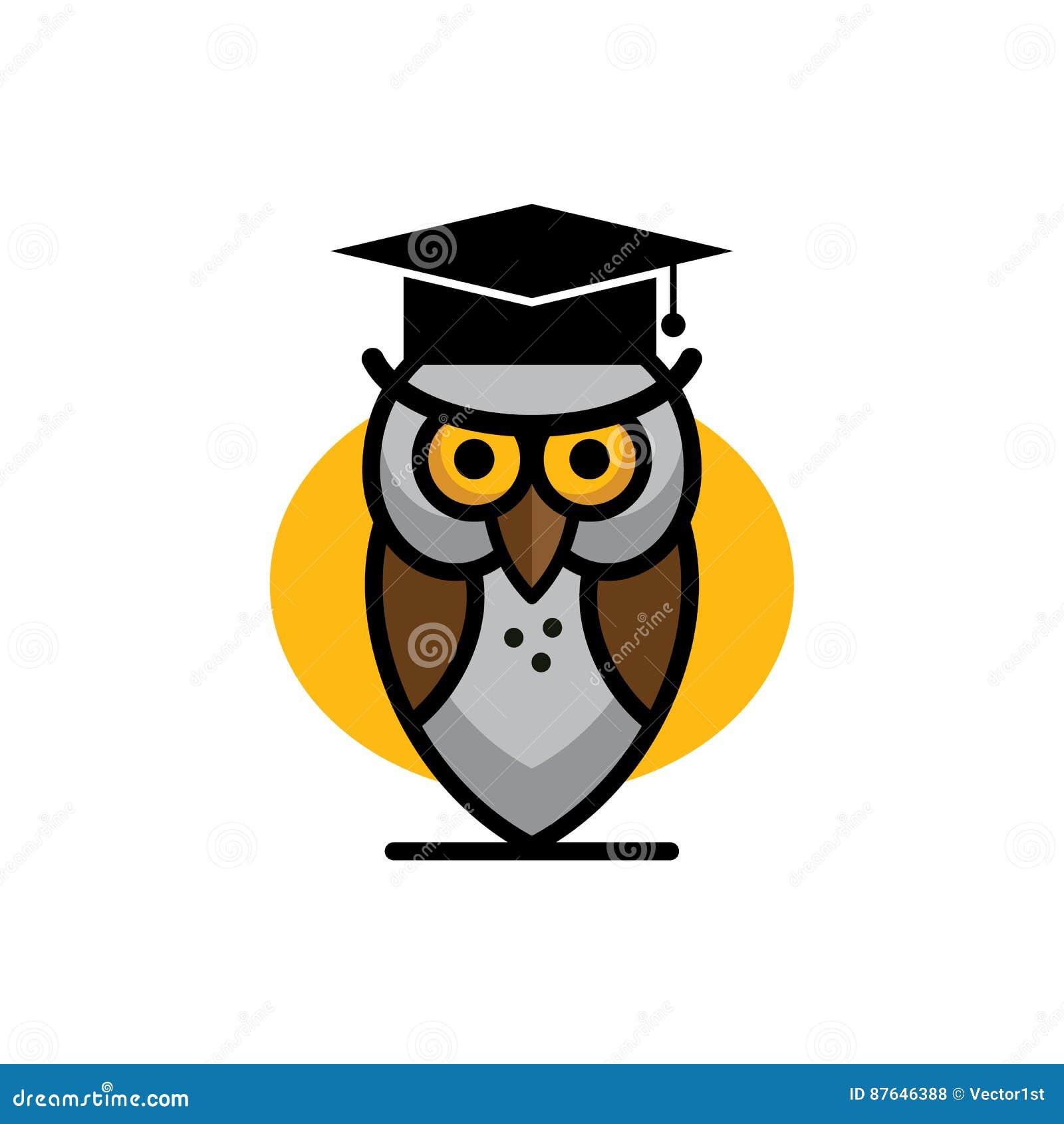 Graduation Owl Student Icon Flat Sign Symbol Logo Cartoon