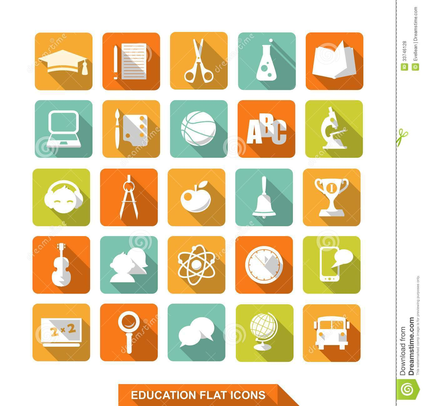 Flat Education Icons With Shadow Royalty Free Stock Photos - Image ...