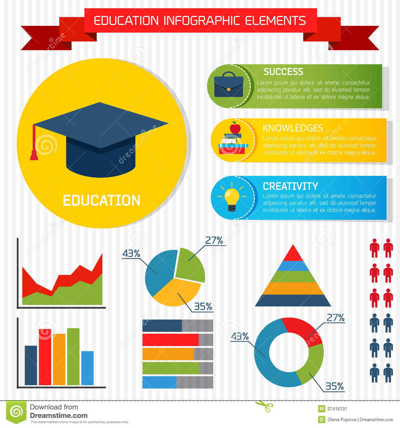 Flat Education Infographic Background Stock Vector ...