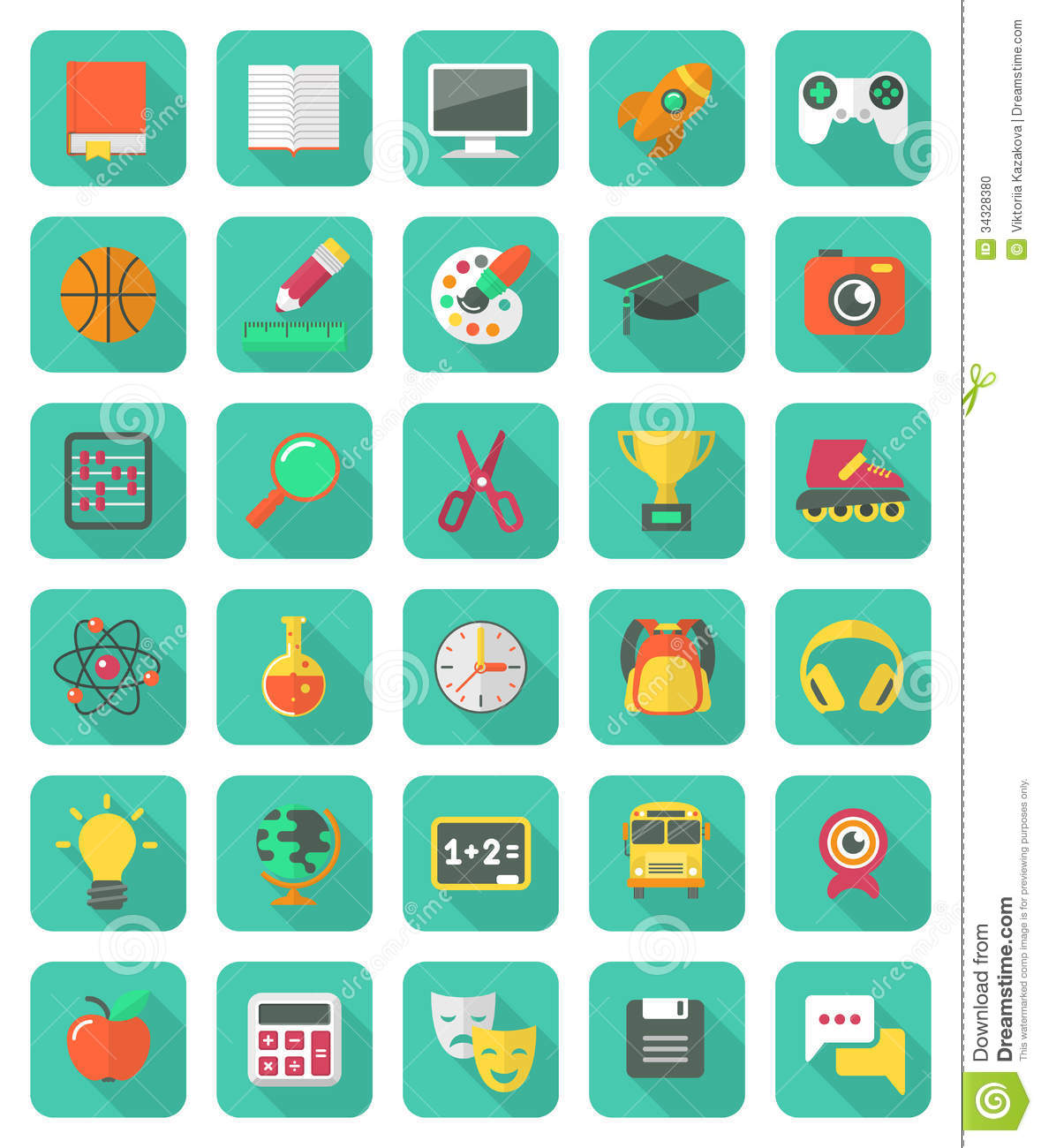 flat education and leisure icons set stock vector